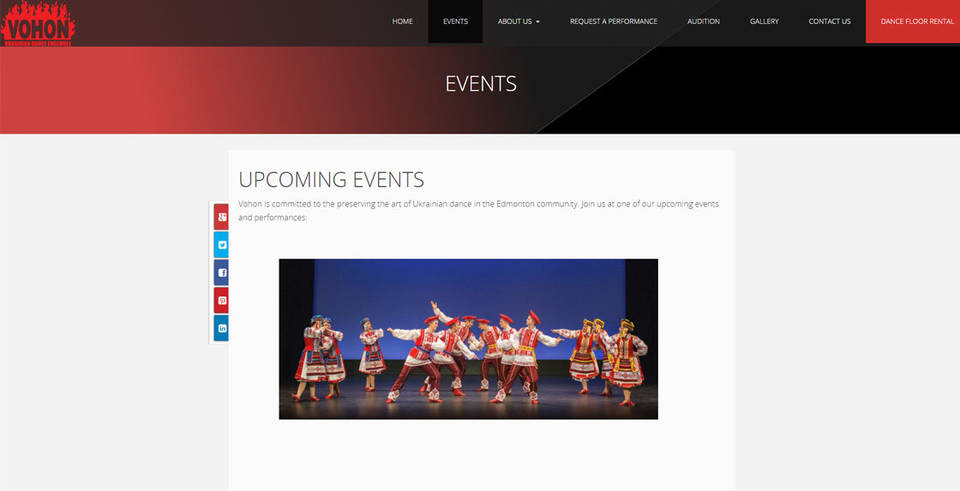 Industrial NetMedia designed Vohan's event page, highlighting their dancers in bright colored costumes.