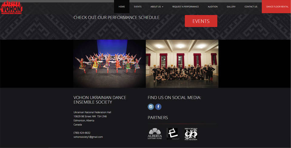 The homepage designed by INM highlights images of youthful dancers on stage performing, as well as in the studio posing.